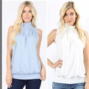 White Hi Neck Pleated Top- Large